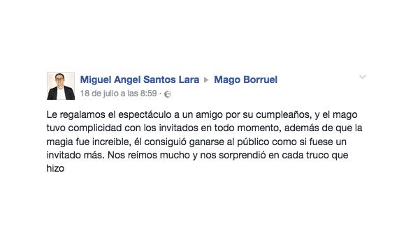 opinión fiesta particular Mago Borruel